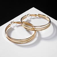 Серьги-кольца 'Карма' крупная линия, цвет золото, d3,5