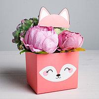 Коробка для цветов с топпером 'Лисичка', 11 х 12 х 10 см (комплект из 5 шт.)