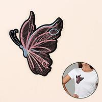 Термоаппликация 'Бабочка', с пайетками, 15 x 12 см, цвет чёрный/розовый