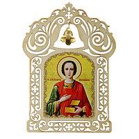Икона в авто с колокольчиком 'Целитель Пантелеимон' на клеящейся основе (комплект из 10 шт.)