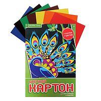 Картон цветной А4, 7 листов, 7 цветов 'Хобби тайм', немелованный, 190 г/м2, МИКС (комплект из 2 шт.)