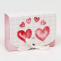 Подарочная коробка сборная с окном 'Влюбленные', 16,5 х 11,5 х 5 см (комплект из 5 шт.)