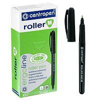 Ручка-роллер, 0.7 мм, Centropen 4665, одноразовая, черная, картонная упаковка (комплект из 10 шт.)