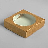 Подарочная коробка сборная с окном, 11,5 х 11,5 х 3 см, крафт (комплект из 5 шт.)
