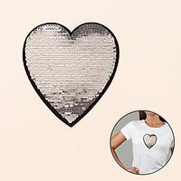 Термоаппликация двусторонняя 'Сердце', с пайетками, 13 x 12 см, цвет красный/серебряный (комплект из 5 шт.)