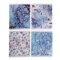 Тетрадь 40 листов в клетку Silver pattern, обложка мелованный картон, тиснение фольгой, блок офсет, МИКС