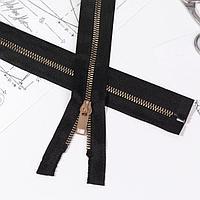 Молния 'Трактор', 5, разъёмная, декоративное звено 'Акулий зуб', 80 см, цвет чёрный/золотой (комплект из 10