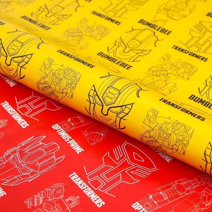 Бумага упаковочная глянцевая двусторонняя, Трансформеры, 60x90 см (комплект из 10 шт.) - фото 1