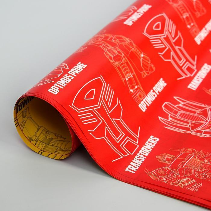 Бумага упаковочная глянцевая двусторонняя, Трансформеры, 60x90 см (комплект из 10 шт.) - фото 2