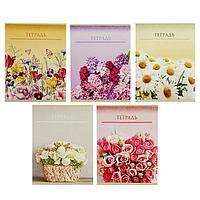 Тетрадь 48 листов в клетку 'Цветы', обложка мелованный картон, блок офсет, МИКС (комплект из 5 шт.)