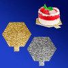 Подставка п/торт d9см золотистая/серебристая 6-угольная с ручкой