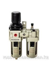 "F154/3.R Фильтр регулятор ROSSVIK с манометром + лубрикатор 1/2"""