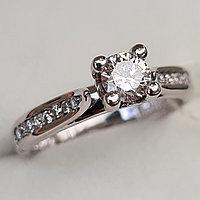 Золотое кольцо с бриллиантомI 0,50Сt SI2/L,  EX-Cut