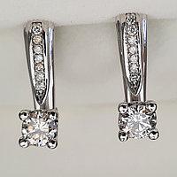 Золотые серьги с бриллиантами 0.82Ct SI2/L, Ex-Cut, фото 1