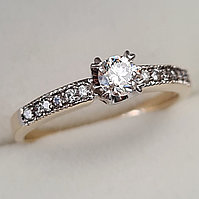 Золотое кольцо с бриллиантом 0,34Сt VS2/H,  EX-Cut, фото 1