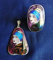 Серебряные кулон и кольцо с эмалью, ручная работа грузинского мастера