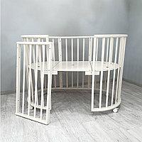 Овальная кроватка-трансформер 6 в 1 Barney 10, белый