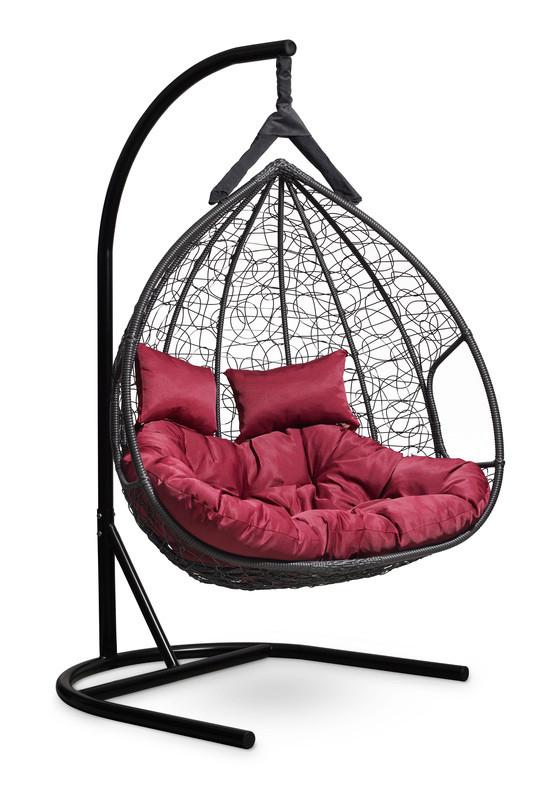 Подвесное двухместное кресло-кокон FISHT черное
