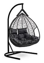 Подвесное двухместное кресло-кокон FISHT черное, фото 3