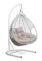 Подвесное двухместное кресло-кокон FISHT белое, фото 3