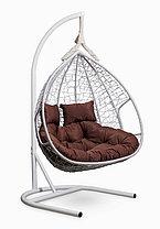Подвесное двухместное кресло-кокон FISHT белое, фото 2