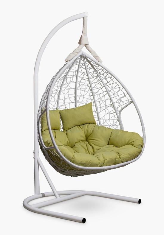 Подвесное двухместное кресло-кокон FISHT белое