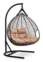 Подвесное двухместное кресло-кокон FISHT коричневое, фото 3