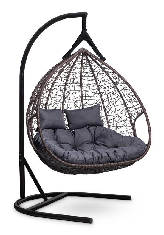 Подвесное двухместное кресло-кокон FISHT коричневое
