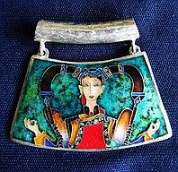 Серебряный кулон с эмалью, ручная работа грузинского мастера