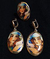 Серебряный комплект с эмалью, ручная работа грузинского мастера