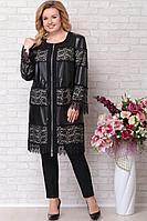 Женский осенний кожаный черный большого размера плащ Aira Style 386 черный 58р.
