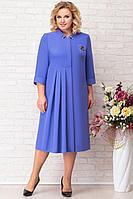 Женское осеннее трикотажное синее нарядное большого размера платье Aira Style 707 синий 54р.