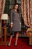 Женский осенний коричневый деловой деловой костюм Lissana 4172 44р.