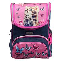 Ранец Стандарт deVENTE Mini 35 х 26 х 20 см, Cute Cat, синий/розовый