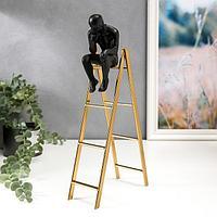 Сувенир полистоун, металл 'Мыслитель на лестнице' чёрный с золотом 30,6х6,7х16 см