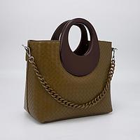 Сумка-тоут, отдел на молнии, наружный карман, длинный ремень, цвет оливковый