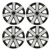 Колпаки колесные R15 'ГАЛАКСИ', серебристо-черный карбон, набор 4 шт