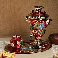 Набор 'Васильки', рюмка, 3 предмета, самовар 3 л, заварочный чайник 0,7 л, поднос