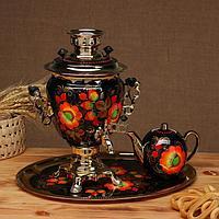 Набор 'Маки', жёлудь, 3 предмета, самовар 3 л, заварочный чайник 0,7 л, поднос