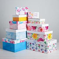 Набор подарочных коробок 10 в 1 'Цветочная феерия', 12 х 7 х 4 - 32,5 х 20 х 12,5 см