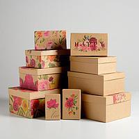 Набор подарочных крафтовых коробок 10 в 1 'Весеннее настроение', 32,5 х 20 х 12,5 - 12 х 7 х 4 см