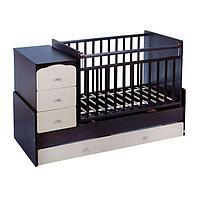 Детская кровать-трансформер СКВ-9 'Жираф' на маятнике, цвет венге/бежевый