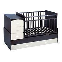 Детская кровать-трансформер СКВ-9 'Птички' на маятнике, цвет венге/бежевый