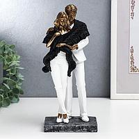 Сувенир полистоун 'Влюблённые в белой одежде, укрытые шарфом' 25,5х9х11,5 см