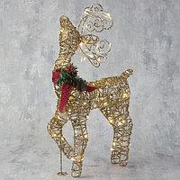 Фигура светодиодная 'Олень кучерявые рога золотой' 60 см, 40 LED, 220V, Т/БЕЛЫЙ