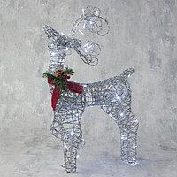 Фигура светодиодная 'Олень кучерявые рога серебряный' 60х30х12 см, 40 LED, 220V, БЕЛЫЙ,