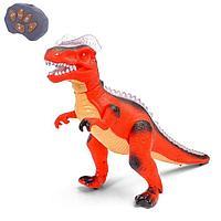 Динозавр радиоуправляемый 'T-Rex', световые и звуковые эффекты, работает от батареек, цвет красный