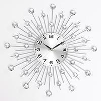 Часы настенные, серия Ажур, 'Кристалы', плавный ход, 35 х 35 см, d циферблата13 см