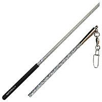 Палка гимнастическая PASTORELLI FIG Glitter 59,5 см, с чёрным держателем, цвет серебро