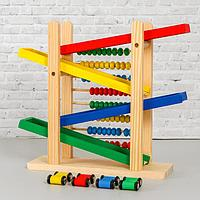 Детская деревянная игрушка 2 в 1 'Автотрек + счёты' 31x28x9,5 см